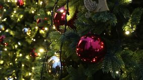 Fondo del árbol de navidad y decoraciones de la Navidad Bolas y guirnalda coloridas en abeto verde por la tarde almacen de metraje de vídeo
