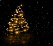 Fondo del árbol del oro de la Navidad Foto de archivo libre de regalías