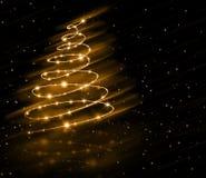 Fondo del árbol del oro de la Navidad Fotografía de archivo libre de regalías