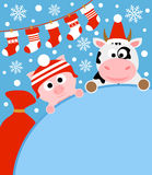 Fondo del Año Nuevo con el cerdo y la vaca Imagen de archivo