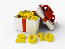 Fondo del Año Nuevo 2018 con el regalo Foto de archivo libre de regalías