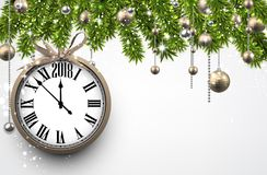 Fondo del Año Nuevo 2018 con el reloj Imagenes de archivo