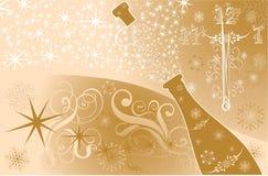 Fondo del Año Nuevo con el reloj y las chispas de un champán ilustración del vector