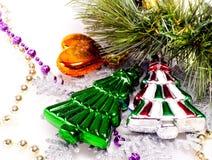 Fondo del Año Nuevo con furtree decorativo colorido Imagenes de archivo