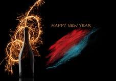 Fondo 2015 del Año Nuevo con la botella del champán, Fotos de archivo