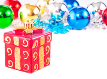 Fondo del Año Nuevo con las bolas coloridas Imagen de archivo
