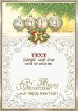 Fondo 2019 del Año Nuevo con las bolas y las ramas del abeto enmarcadas para las tarjetas de felicitación ilustración del vector