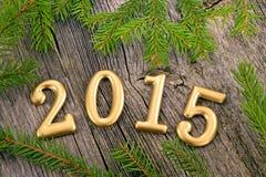 Fondo del Año Nuevo con las decoraciones Foto de archivo libre de regalías