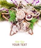 Fondo del Año Nuevo con las decoraciones de la estrella Imagenes de archivo