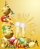 Fondo del Año Nuevo con los vidrios y las bolas Imagen de archivo