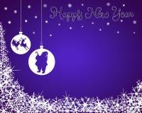 Fondo del Año Nuevo con Santa y el reno Fotografía de archivo libre de regalías