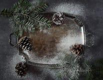 Fondo del Año Nuevo: conos del pino y ramas del abeto en la bandeja del vintage Imagen de archivo