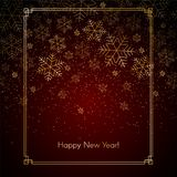 Fondo del Año Nuevo de la Navidad con el texto de los copos de nieve del oro de la Navidad festiva roja del fondo del invierno de libre illustration