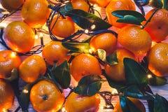 Fondo del Año Nuevo de la Navidad de mandarinas y de guirnaldas ardientes Fotografía de archivo