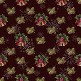 Fondo del Año Nuevo inconsútil, para la decoración del día de fiesta marrón foto de archivo libre de regalías