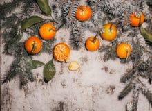 Fondo del Año Nuevo mandarinas, nieve, abeto en un fondo de madera Imagenes de archivo