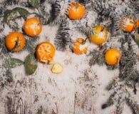 Fondo del Año Nuevo mandarinas, nieve, abeto en un fondo de madera Fotografía de archivo libre de regalías