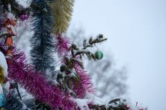 Fondo del Año Nuevo o de la Navidad Árbol en la nieve La Navidad diciembre Imagen de archivo libre de regalías