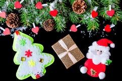 Fondo del Año Nuevo o de la Navidad aislado en la visión superior negra Foto de archivo libre de regalías
