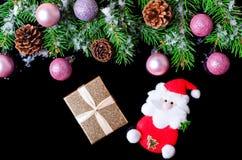 Fondo del Año Nuevo o de la Navidad aislado en la visión superior negra Foto de archivo