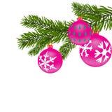 Fondo del Año Nuevo o de la Navidad Rama de árbol de abeto con las bolas rojas con la figura Ilustración Imágenes de archivo libres de regalías