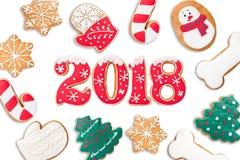 Fondo del Año Nuevo, 2018, año del perro, pan de jengibre aislado Imagen de archivo