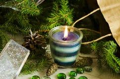 Fondo del Año Nuevo y de la Navidad con las velas Fotos de archivo libres de regalías