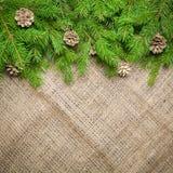 Fondo del Año Nuevo y de la Navidad en un viejo fondo de la harpillera Visión desde arriba Ramas de árbol de navidad y nieve, reg Foto de archivo
