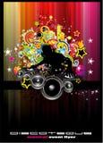 Fondo del acontecimiento del disco con los elementos coloridos Fotos de archivo libres de regalías