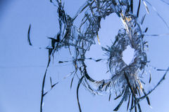 Fondo 3 del agujero de bala de la ventana de cristal Imágenes de archivo libres de regalías