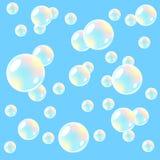 Fondo del aire con las burbujas de jabón. Inconsútil. Fotos de archivo