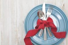 Fondo del ajuste de la tabla de la comida de la Navidad foto de archivo libre de regalías