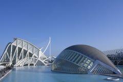Fondo del al de Calatrava del puente del EL de la estafa de Hemisferic y ciudad de las ciencias fotografía de archivo libre de regalías