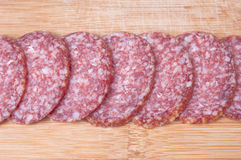 Fondo del alimento del salami rebanado Fotografía de archivo