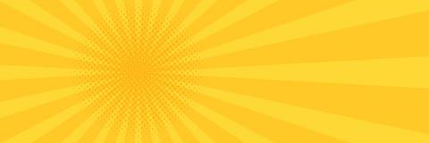 Fondo del amarillo del arte pop del vintage Ejemplo de la bandera Imágenes de archivo libres de regalías