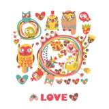 Fondo del amor de los búhos. Foto de archivo libre de regalías