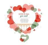 Fondo del amor - globo del aire caliente de la forma del corazón Fotografía de archivo