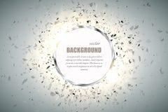 Fondo del anillo del vector Marco redondo del brillo del cromo del metal con efecto luminoso de la chispa y la explosión grande Foto de archivo libre de regalías