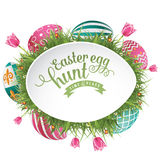 Fondo del anuncio de la caza del huevo de Pascua