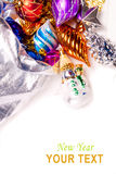 Fondo del Año Nuevo con las decoraciones coloridas Imagen de archivo