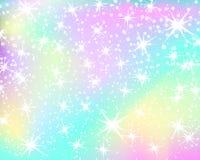 Fondo del arco iris del unicornio Cielo olográfico en color en colores pastel Modelo brillante de la sirena en colores de la prin libre illustration