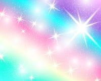 Fondo del arco iris del unicornio Cielo olográfico en color en colores pastel Modelo brillante de la sirena en colores de la prin ilustración del vector
