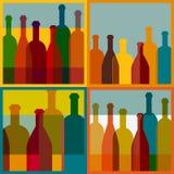 Fondo del arte Concepto del restaurante del vino stock de ilustración