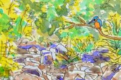 Fondo del arte de un martín pescador en el campo libre illustration