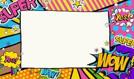 Fondo del arte pop Publicidad del cartel Marco del arte pop para el lugar para el texto stock de ilustración