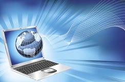 Fondo del asunto del globo de la correspondencia de la palabra de la computadora portátil Foto de archivo