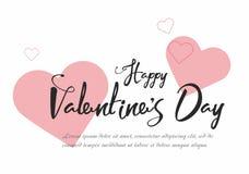 Fondo del aviador del partido del día del ` s de la tarjeta del día de San Valentín con los corazones rosados Imágenes de archivo libres de regalías
