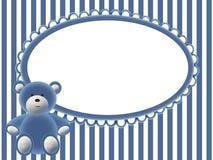 Fondo del azul de bebés con el oso Fotos de archivo libres de regalías