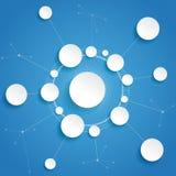 Fondo del azul de Infographic de las redes del ciclo de los círculos Foto de archivo libre de regalías