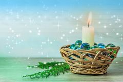 Fondo del azul de la Navidad y del Año Nuevo Imagen de archivo